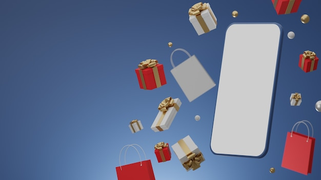 Niebieskie Tło Z Pustym Białym Ekranem Mobilnej Makiety, Pudełku Prezentowym I Torbie Na Zakupy Premium Zdjęcia