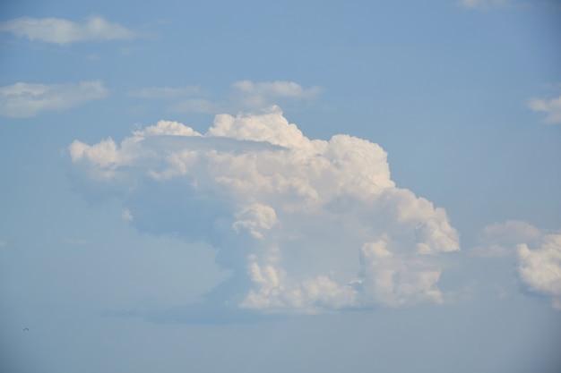 Niebieskiego nieba tło z malutkimi chmurami. do kolażu Premium Zdjęcia