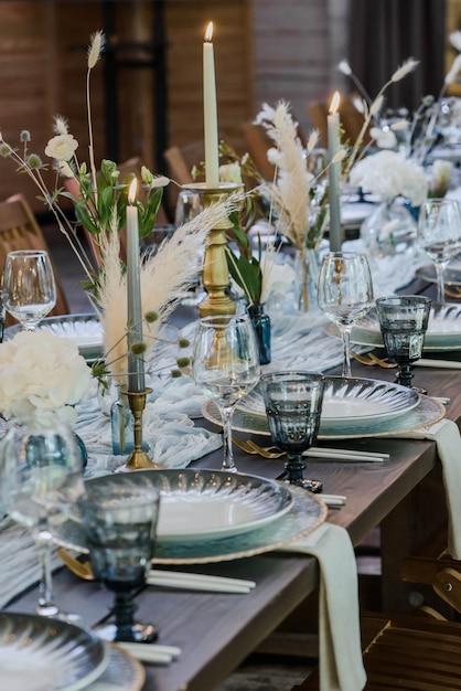 Niebiesko-złoty Wystrój ślubny W Stylu Boho. Premium Zdjęcia