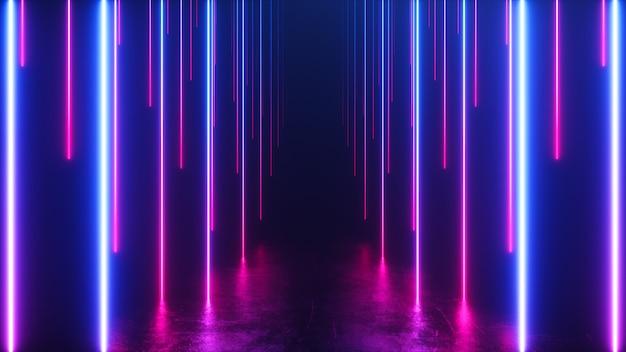 Niekończący Się Korytarz Z Opadającymi Liniami Neonowymi Premium Zdjęcia
