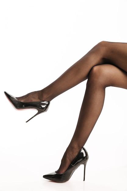 Niesamowita Seksowna Kobieta W Rajstopach Obuwia I Butów Premium Zdjęcia