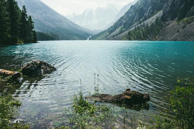 Niesamowity Widok Na Medytacyjne Zmarszczki Na Lazurowej, Czystej, Spokojnej Wodzie Górskiego Jeziora Premium Zdjęcia