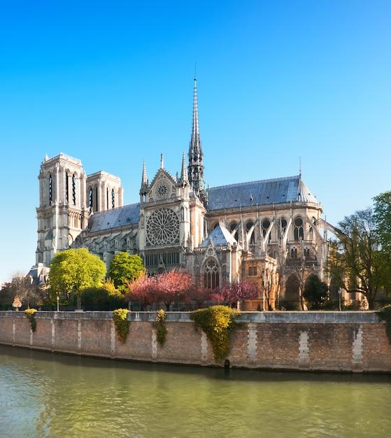 Nieuszkodzona Wschodnia Fasada Katedry Notre Dame De Paris Na Wiosnę Przed Pożarem, Obraz Panoramiczny Premium Zdjęcia