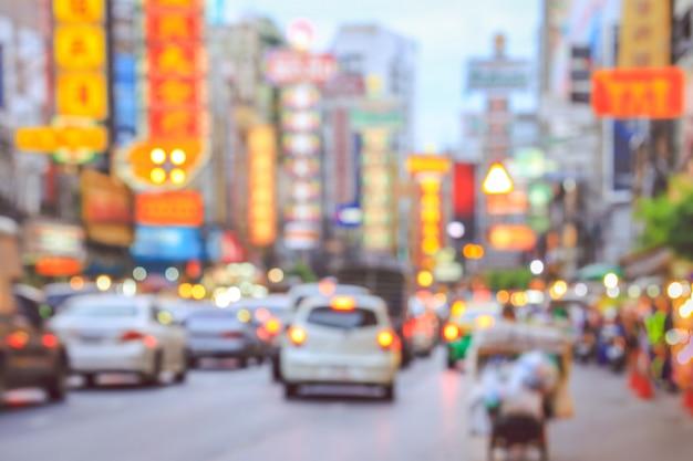 Niewyraźne światłach Miasta Yaowarat W Chinach Premium Zdjęcia