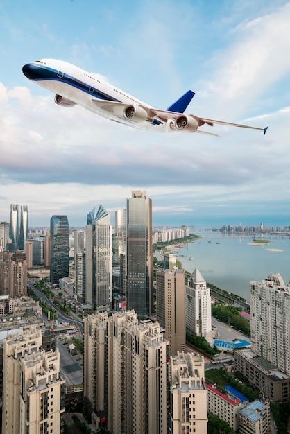 Niski Kąt Widzenia Samolotu Odrzutowego Startu Premium Zdjęcia