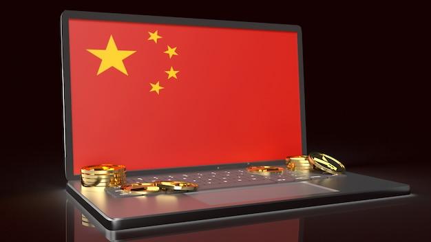 Notatnik Ekranu Flaga Porcelany I Złotych Monet Rendering 3d Dla Chińskiej Waluty Premium Zdjęcia
