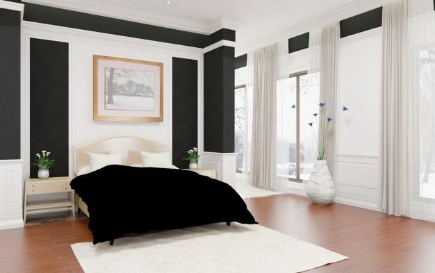 Nowoczesna Biała Minimalistyczna Sypialnia Zdjęcie Premium