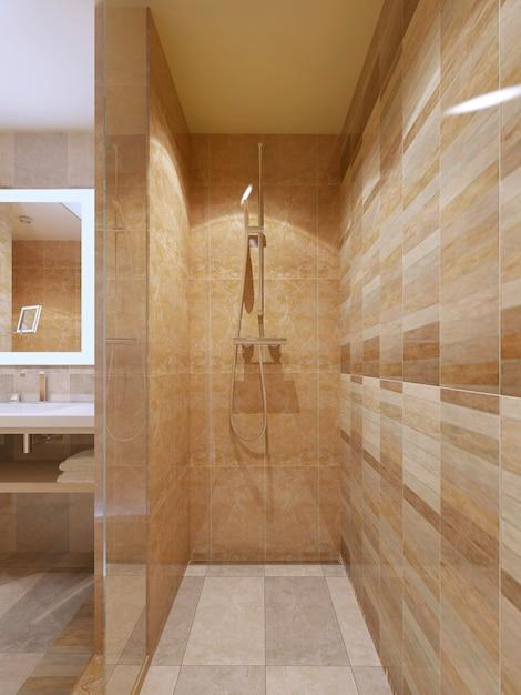 Nowoczesna Kabina Prysznicowa W łazience Z Marmurowymi Kafelkami I Szklanymi Drzwiami. Premium Zdjęcia