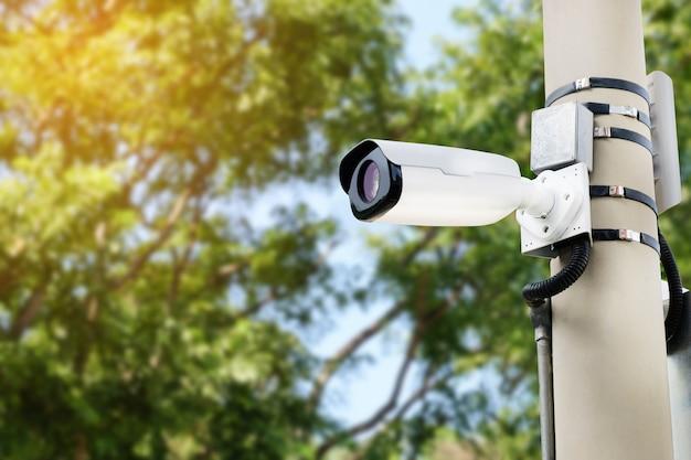 Nowoczesna kamera cctv na słupie elektrycznym Premium Zdjęcia