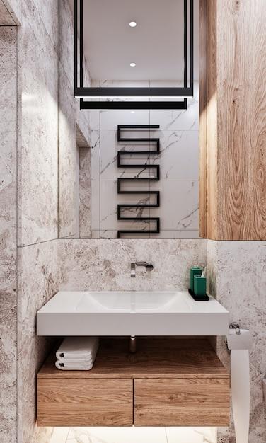 Nowoczesna łazienka Z Płytkami Pod Betonem I Marmurem Premium Zdjęcia