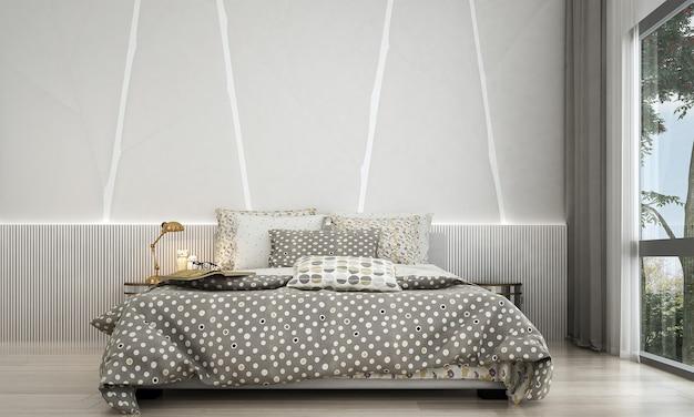 Nowoczesna Sypialnia I Stylowy Wystrój Wnętrza Oraz Oświetlenie Premium Zdjęcia