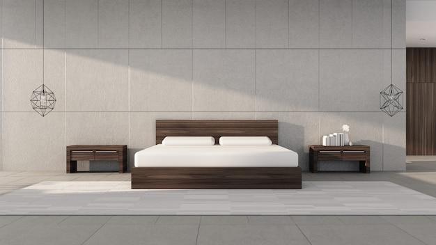 Nowoczesna Sypialnia Z Jasnym Porannym Słońcem / Wnętrzem Renderingu 3d Premium Zdjęcia