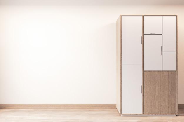 Nowoczesna Szafa Drewniany Japoński Styl Na Minimalistycznym Wnętrzu Pustego Pokoju Premium Zdjęcia