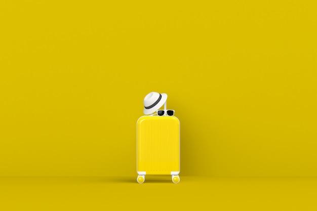 Nowoczesna żółta Walizka Z Okularami Przeciwsłonecznymi I Kapeluszem Na żółtym Premium Zdjęcia