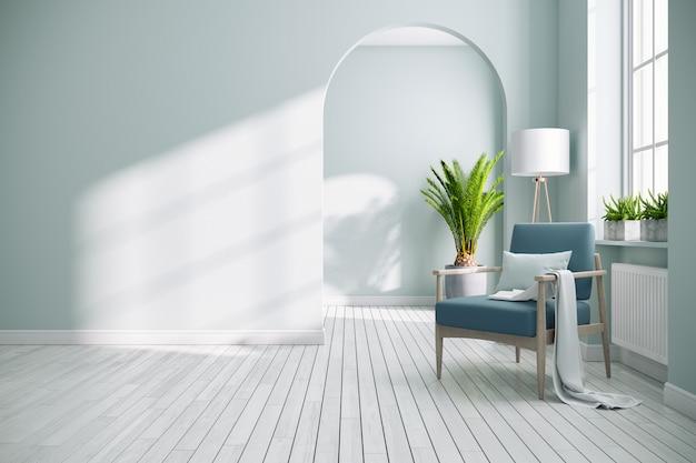 Nowoczesne Białe Wnętrze Salonu Premium Zdjęcia