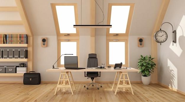 Nowoczesne Biuro Na Poddaszu Z Drewnianym Biurkiem, Regałem I Dwoma Oknami. Renderowanie 3d Premium Zdjęcia