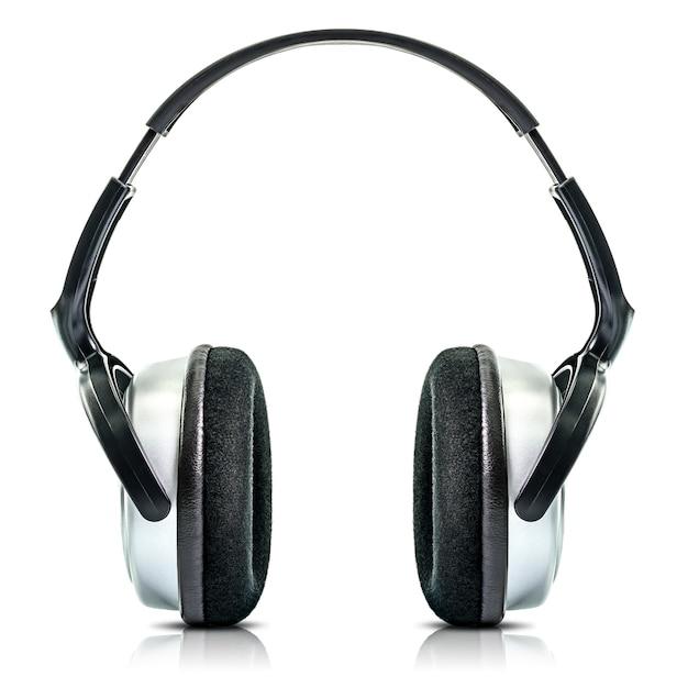 Nowoczesne Czarne Słuchawki Na Białym Tle Premium Zdjęcia