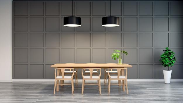 Nowoczesne I Loft Wnętrze Jadalni, Drewniane Krzesło Z Drewnianym Stołem Na Ciemnej ścianie Premium Zdjęcia