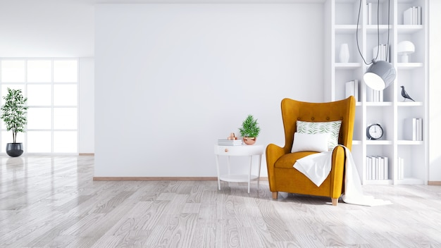 Nowoczesne I Minimalistyczne Wnętrze Salonu Premium Zdjęcia