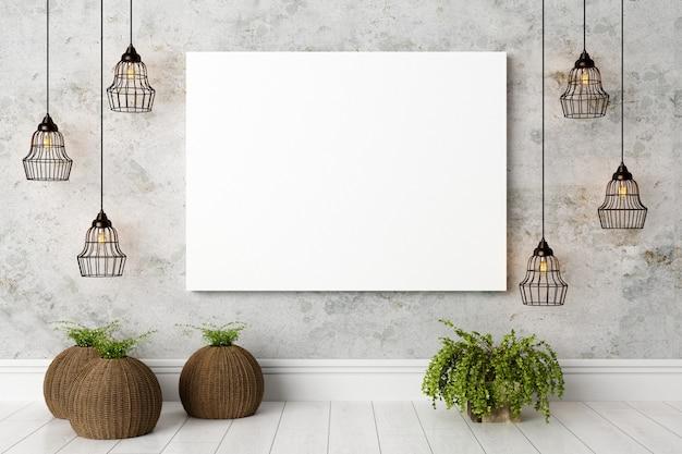 Nowoczesne jasne wnętrze z pustym płótnem lub ramką na zdjęcia Premium Zdjęcia