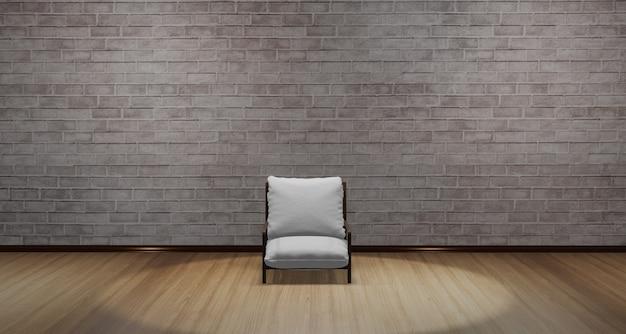 Nowoczesne Krzesło Ustawione Na środku Pokoju. Studio Z Parkietem Od Góry świeci światło. Ciepła Scena Z Drewnianą Podłogą Wzór 3d Ilustracji Premium Zdjęcia
