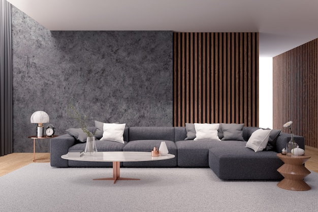 Nowoczesne, Luksusowe Wnętrze Salonu, Czarna Sofa Z Ciemną Betonową ścianą Premium Zdjęcia