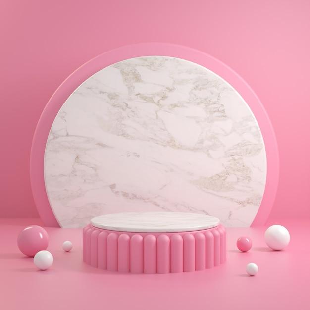 Nowoczesne Różowe Podium Z Białego Marmuru I Tła Renderowania 3d Premium Zdjęcia