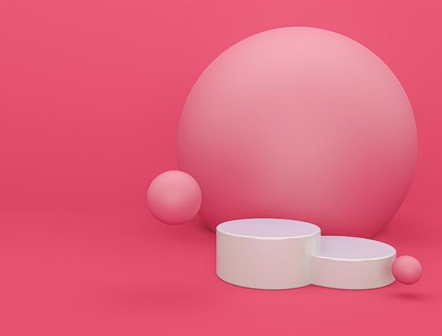 Nowoczesne Różowe Podium Z Renderowania 3d W Tle Premium Zdjęcia