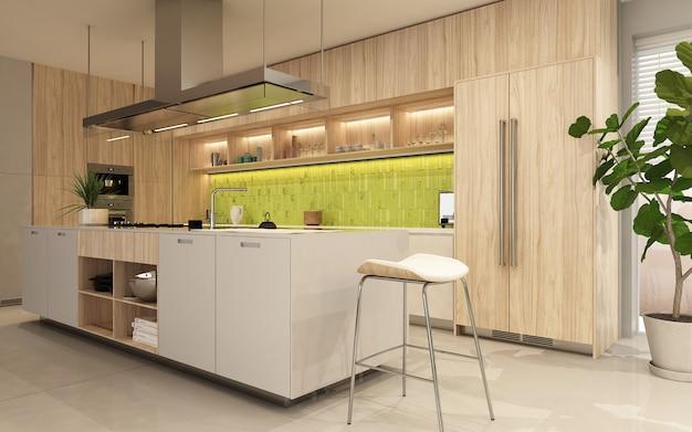 Nowoczesne Wnętrze Kuchni Z Drewnianą Fasadą W Ecostyle. Renderowanie 3d Premium Zdjęcia