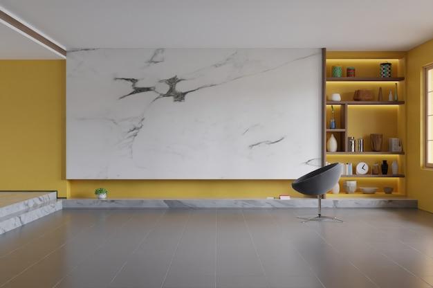 Nowoczesne wnętrze salonu z pustą ścianą Premium Zdjęcia