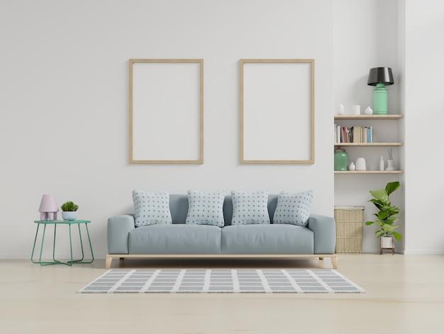 Nowoczesne wnętrze salonu z sofą i zielonymi roślinami, lampa, stół na białej ścianie. Premium Zdjęcia