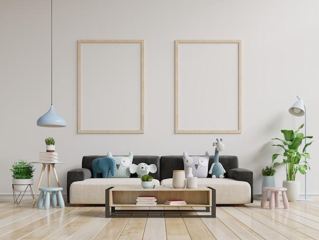 Nowoczesne wnętrze salonu z sofą Premium Zdjęcia