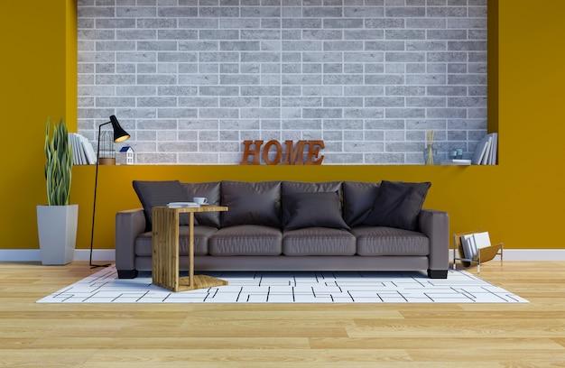 Nowoczesne wnętrze współczesnego salonu z żółtą ścianą i kopia przestrzeń na ścianie Premium Zdjęcia