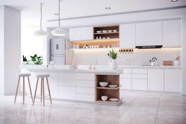 Nowoczesne Współczesne Białe Wnętrze Pokoju Kuchennego Premium Zdjęcia