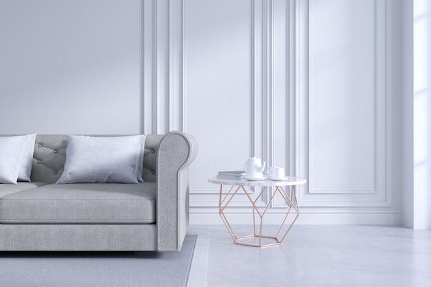Nowoczesny i klasyczny wystrój wnętrz salonu, biała i przytulna koncepcja pokoju Premium Zdjęcia