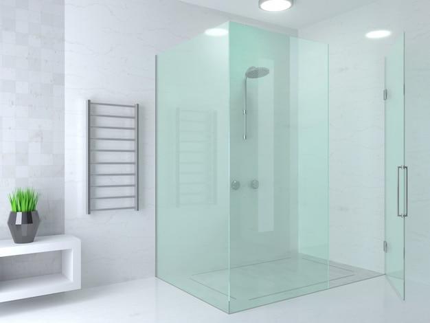 Nowoczesny jasny prysznic ze szkła Premium Zdjęcia