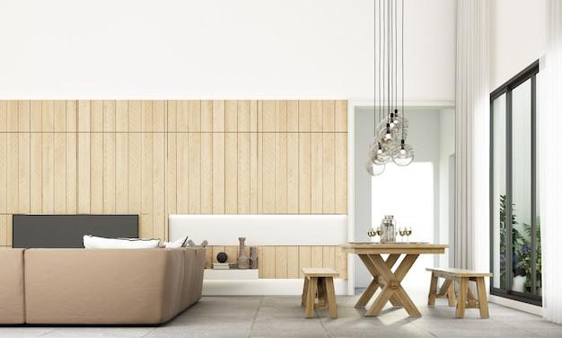 Nowoczesny minimalny styl salonu i jadalni z zestawem sof i szarą płytką podłogową i drewnianą ścianą zdobią rendering 3d Premium Zdjęcia