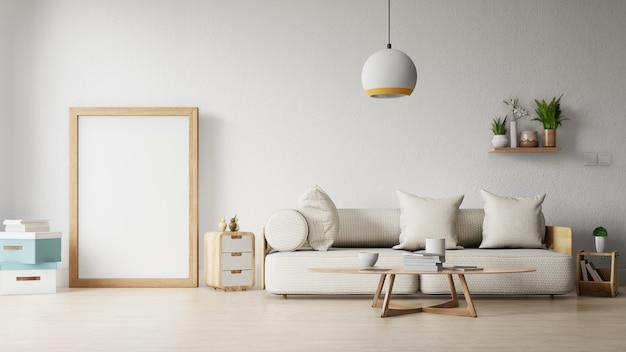 Nowoczesny salon z białą sofą ma szafkę i drewniane półki na drewnianej podłodze i białej ścianie Premium Zdjęcia