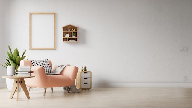 Nowoczesny salon z pustym plakatem na ścianie Premium Zdjęcia