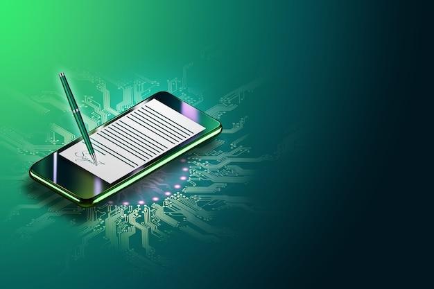 Nowoczesny Smartfon I Hologram Umowy Z Podpisem Elektronicznym. Koncepcja Podpisu Elektronicznego, Biznesu, Współpracy Zdalnej, Miejsca Na Kopię. Różne środki Przekazu. Ilustracja 3d, Renderowanie 3d. Premium Zdjęcia