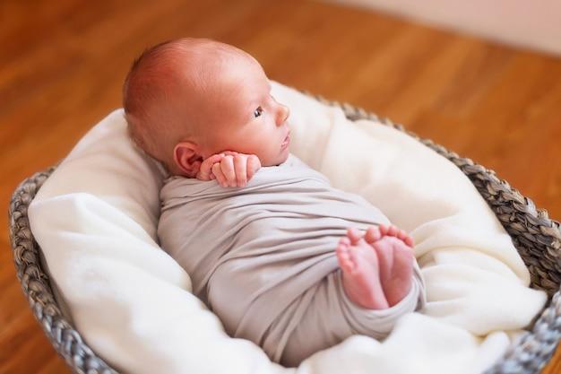 Nowonarodzone Dziecko W Koszu. Małe Dłonie I Stopy Dziecka. Baby Wrap Premium Zdjęcia