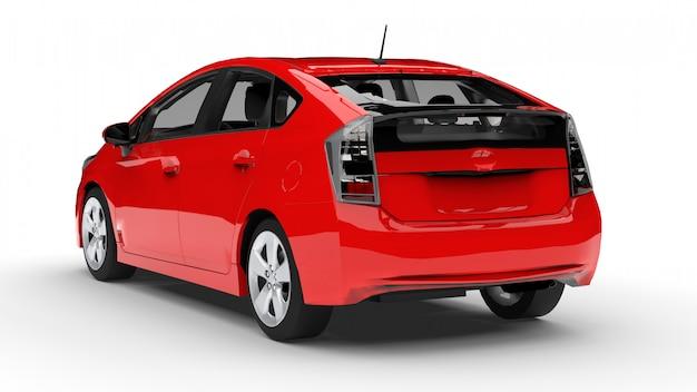Nowożytna rodzinna hybrydowa samochodowa czerwień na białym tle z cieniem na ziemi Premium Zdjęcia
