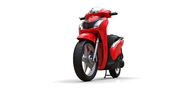Nowożytny miastowy czerwony motorower na białym tle Premium Zdjęcia