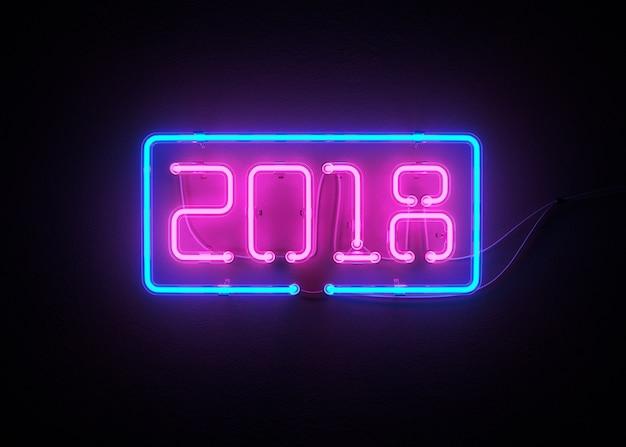 Nowy Rok 2018 Robić Od Neonowego Abecadła 3d Renderingu Premium Zdjęcia
