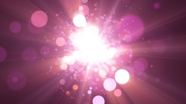 Nowy rok 2020. tło bokeh. światła streszczenie. wesołych świąt bożego narodzenia tło. brokatowe światło. nieostre cząstki. fioletowe i różowe kolory, eksplozja. Premium Zdjęcia
