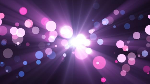 Nowy rok 2020. tło bokeh. światła streszczenie. wesołych świąt bożego narodzenia tło. brokatowe światło. nieostre cząstki. fioletowe i różowe kolory. promienie w centrum Premium Zdjęcia