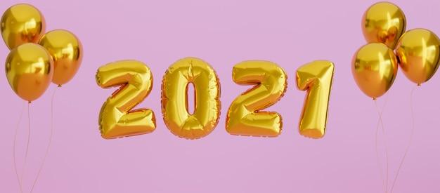 Nowy Rok 2021 Złoty Balon Na Różowym Tle Na Okładkę Facebooka Premium Zdjęcia