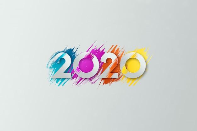 Nowy rok napis 2020 na jasnym tle. Premium Zdjęcia