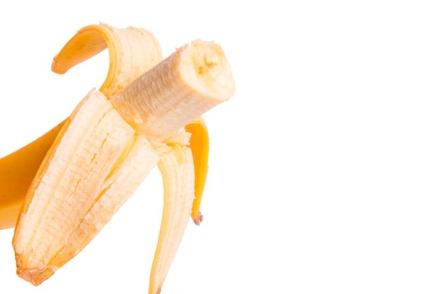 Obrany Banan Na Białym Tle Premium Zdjęcia