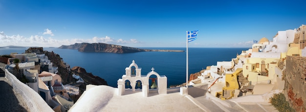 Obraz Panoramiczny, Jeśli Wioska Oia, Wyspa Santorini, Grecja Premium Zdjęcia